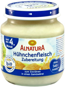 Alnatura Bio Hähnchenfleisch Zubereitung, nach dem 4. Monat 125 g