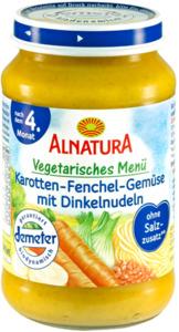 Alnatura Bio Karotte-Fenchel-Gemüse mit Dinkelnudeln,  nach dem 4. Monat 190 g