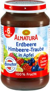 Alnatura Bio Erdbeere Himbeere-Traube in Apfel, ab dem 6. Monat 190 g