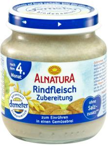 Alnatura Bio Rindfleisch Zubereitung, nach dem 4. Monat 125 g