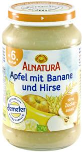 Alnatura Bio Apfel mit Banane und Hirse, ab dem 6. Monat 190 g