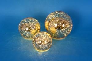 TrendLine Glaskugeln 3-Set mit Beleuchtung ,  gold