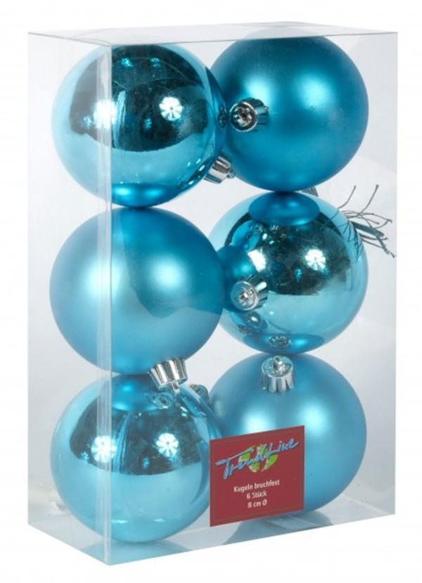 Weihnachtsdeko Globus.Trendline Christbaumkugeln Blau Bruchfest 8 Cm ø 6 Stück