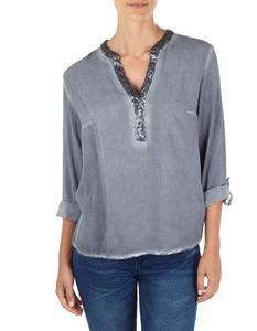 Damen Bluse mit Pailletten-Besatz