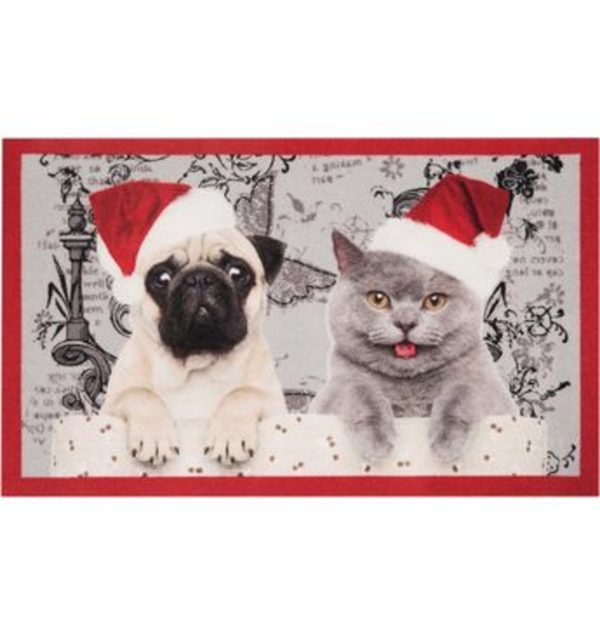 Fußmatte »Christmas Cat Dog«, HANSE Home, rechteckig, Höhe 7 mm