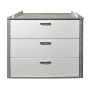 Wickelkommode Vintage Grau/Weiß matt ca. 110 x 93-98 x 45-71 cm