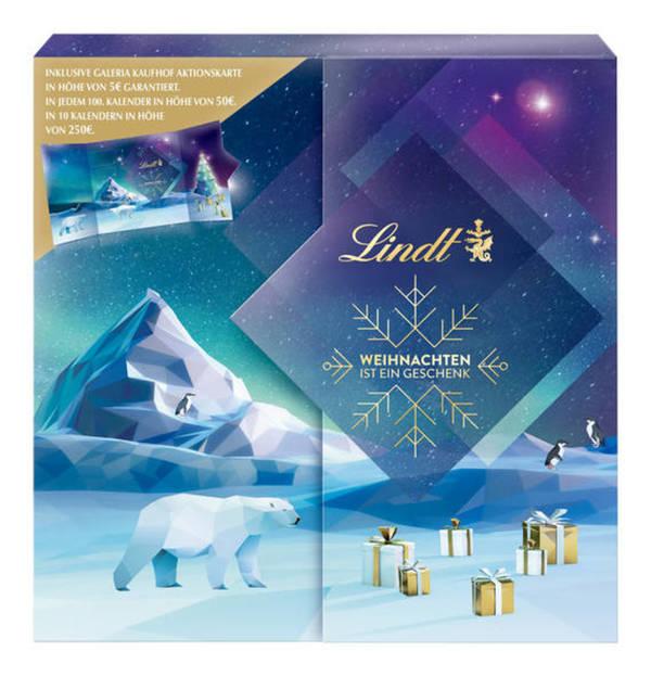 LINDT             Adventskalender mit Galeria Kaufhof Aktionskarte, 153g
