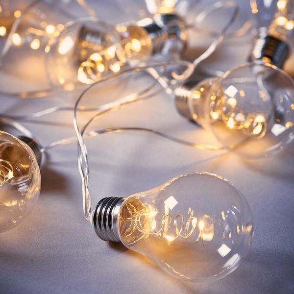 LED Glühbirnenkette 10 Lichter transparent