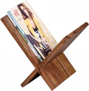Wohnling Zeitungsständer MUMBAI Massivholz Sheesham X-Form 31 cm Zeitschriften-Ständer Design Prospekt-Halter Landhaus-Stil