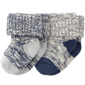 2 Paar Newborn Socken im melierten Design