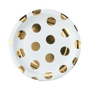 Pappteller goldene Punkte Ø 23 cm