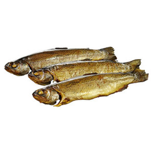 Räucherfischspezialität: Forelle gold-gelb,  je 100 g
