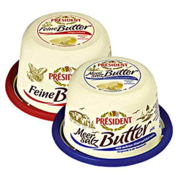 Président Butter versch. Sorten, jede 250-g-Packung