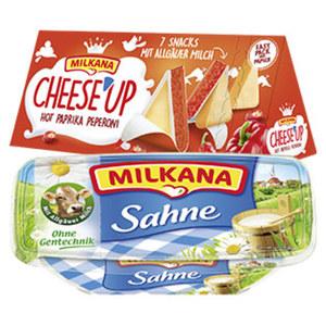 Milkana Frischeschale oder Cheese´Up Schmelzkäsezubereitung, 50 % Fett i. Tr., versch. Sorten, jede 200/123-g-Packung