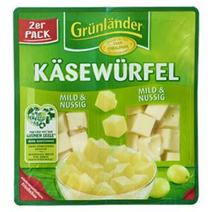 Grünländer Scheiben oder Käsewürfel Deutscher Hart- und Schnittkäse, 48 % Fett i. Tr./17 % Fett absolut und weitere Sorten, jede 150/140/130/120/110-g-Packung