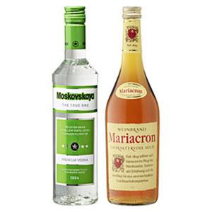 Moskovskaya Russischer Vodka oder Mariacron Weinbrand 38/36 % Vol.,  jede 0,5/0,7-l-Flasche