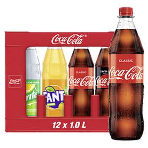 Coca-Cola*, Fanta oder Sprite (*koffeinhaltig), versch. Sorten, 12 x 1 Liter