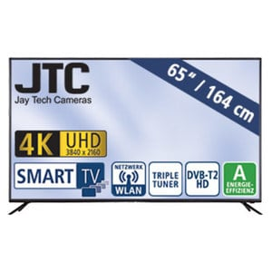 "65""-Ultra-HD-LED-TV Atlantis 6.5 UHD Smart H.265, Dual-Core, 3 HDMI-/USB-Anschlüsse, CI+, Stand-by: 0,41 Watt, Betrieb: 149 Watt, Maße: H 84,3 x B 146,1 x T 8,5 cm, Energie-Effizienz A (Spektrum A+"