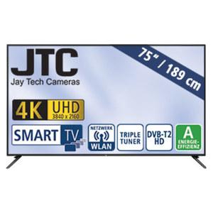 "75""-Ultra-HD-LED-TV Atlantis 7.5 UHD H.265, Dual-Core, 3 HDMI-/USB-Anschlüsse, CI+, Stand-by: 0,41 Watt, Betrieb: 200 Watt, Maße: H 96,5 x B 168,4 x T 8,5 cm, Energie-Effizienz A (Spektrum A++ bis"