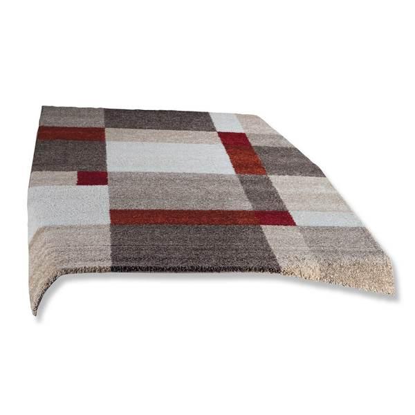 Frisee-Teppich CASA - beige-rot - 80x150 cm