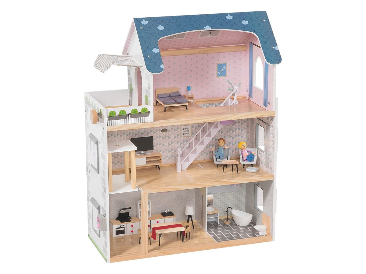 Bild 1 von PLAYTIVE® JUNIOR Puppenhaus, 34-teilig
