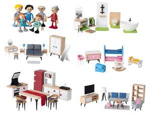 PLAYTIVE® JUNIOR Puppenhaus-Möbelset/ 6 Biegepuppen