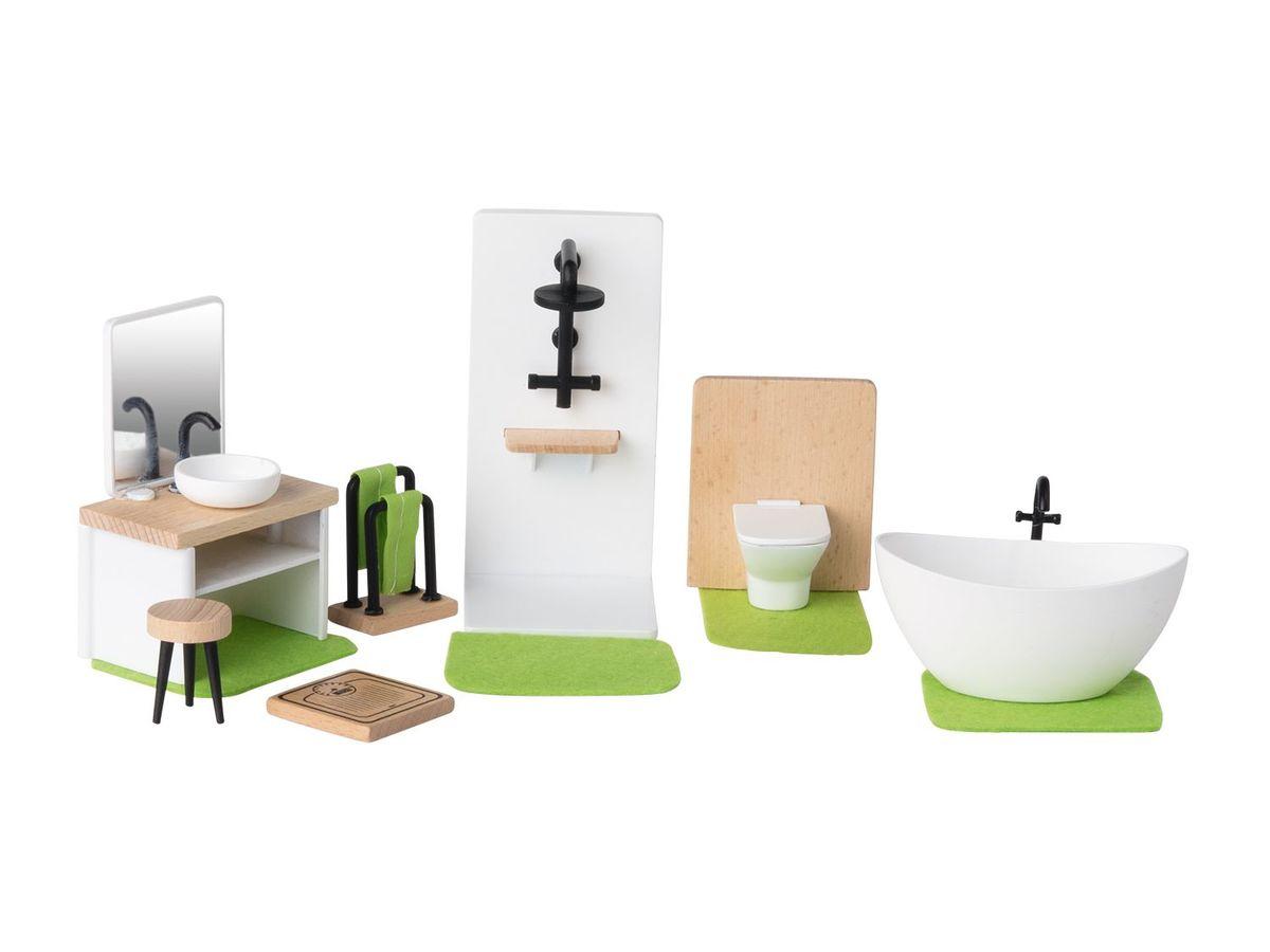 Bild 2 von PLAYTIVE® JUNIOR Puppenhaus-Möbelset/ 6 Biegepuppen