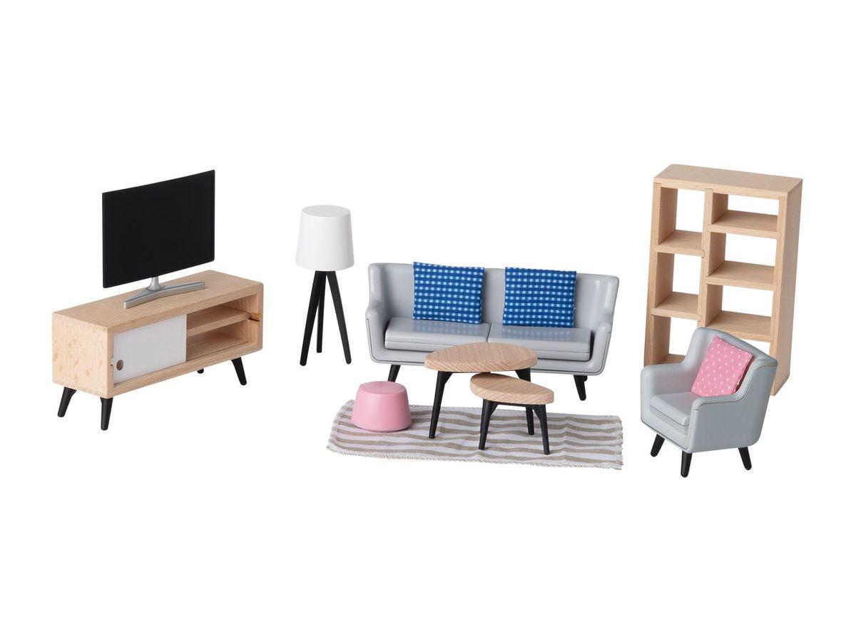 Bild 5 von PLAYTIVE® JUNIOR Puppenhaus-Möbelset/ 6 Biegepuppen