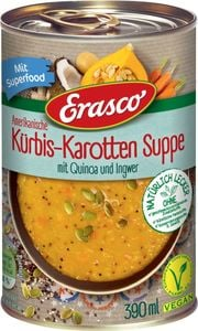 Amerikanische Kürbis-Karotten Suppe mit Quinoa und Ingwer