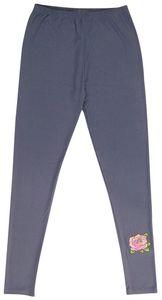 Damen Sommerlegging Gr. L jeansblau mit rose