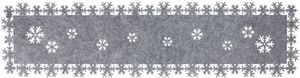 Tischläufer - aus Filz - Schneeflocken - 119 x 30 cm - grau