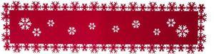 Tischläufer - aus Filz - Schneeflocken - 119 x 30 cm - rot