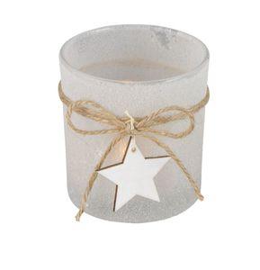 Glas Windlicht - weiß gefrostet - Maße: ca. 7,3 x 8 cm