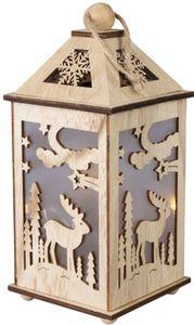 LED-Laterne - Rentier - aus Holz - 11 x 11 x 24 cm