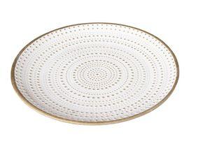 Deko-Teller, weiss mit gold - aus Holz - Durchmesser ca. 29 cm