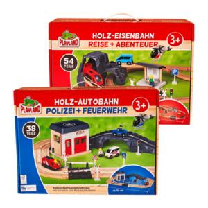 PLAYLAND     Holz-Eisenbahn /-Autobahn