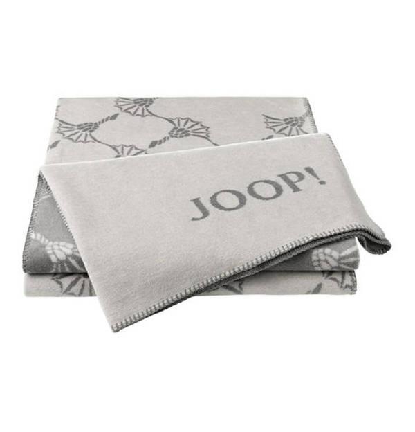 """JOOP!             Wende-Wohndecke """"New Cornflower rauch-graphit"""", mit geketteltem Zierstich, 58 % Baumwolle/35 % Polyacryl/7 % Polyester, 150 x 200 cm"""