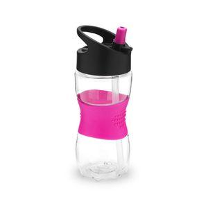 Staples Wasserflasche mit Strohhalm für Kinder Transparenter Kunststoff mit pinkem Gummi-Haltegriff 350ml