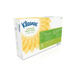 Kleenex® Slimfold Starter Pack, Gefaltetes Papiertuch, 1-lagig, Interfold, mit Spender, 190 mm, Weiß