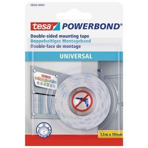 tesa® Powerbond Universal, doppelseitiges Montageband, weiß, 1,5m:19mm, 12 Rollen