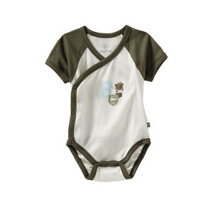 Liegelind Baby-Jungen-Wickelbody mit Kontrast-Ärmeln