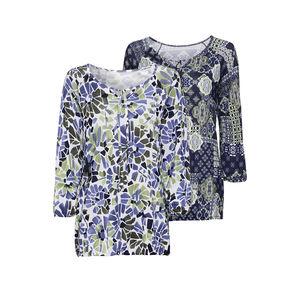Laura Torelli Classic Damen-Shirt mit Bindebändern am Ausschnitt
