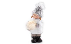 Winterkind Mädchen aus Terracotta, 21 cm