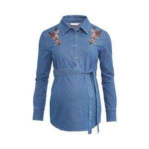 2HEARTS  COSY & WILD Umstands- und Still-Bluse Super Stretch Denim