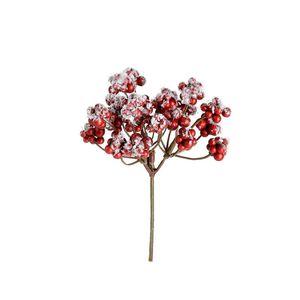 Dekozweig Beeren beschneit, L:17cm, rot