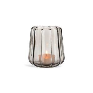 Windlicht gerillt Glas, D:13,5cm x H:13,5cm, grau