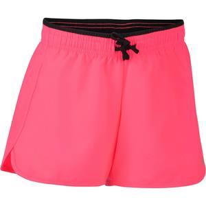 Sporthose kurz W500 Gym Kinder rosa/schwarz