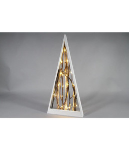 Dehner LED-Triangel-Baum, Holz weiß, H 70 cm