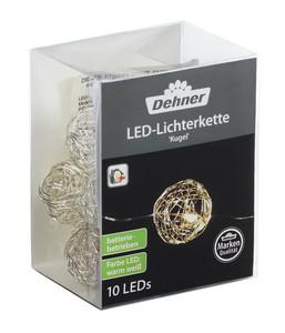 Dehner LED-Lichterkette Kugel, 10 LEDs, Silber