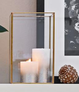 Windlicht Metall & Glas, Gold